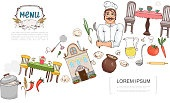 Sketch Russian Cuisine Elements Concept