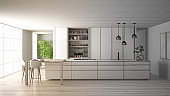 Architect interior designer concept: unfinished project that becomes real, minimalist kitchen, island, window, bamboo, hydroponic vases, parquet , interior design concept idea