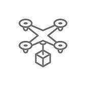 Drone with box, fast delivery service line icon.