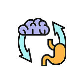Vector brain exchange stomach, addiction flat color line icon.