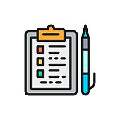 Folder tablet with documents and pen flat color icon.