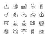 Set of English Culture Line Icons. Traditional Postbox, Police Helmet, Taxi,  Umbrella, Phone Booth and more.
