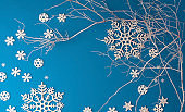 Christmas festive blue background, with a beautiful pattern of white snowflakes with a white painted tree branch