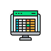 Spreadsheet, computer screen, financial accounting report flat color icon.