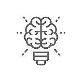 Vector brain and light bulb, innovation, creative idea line icon.