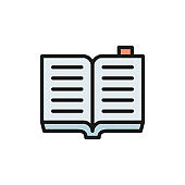 Open book, criminal code flat color icon.