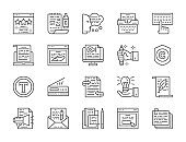 Set of Copywriting Line Icons. Typewriter, Presentations, Writers Website,  Stack of Notes and more.
