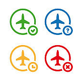 Flight status icons. Airport information symbol set. On time, unknown, delayed, cancelled.
