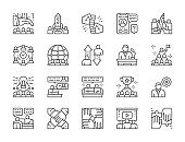 Set of Teamwork Line Icons. Startup, Leadership, International Team, Employees,  Successful Projects and more.