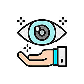 Hand with eye, optical clinic flat color line icon.