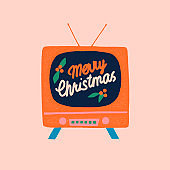 Christmas card with vintage tv