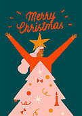 New year and Christmas funny greeting card