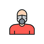Vector man in respiratory system flat color line icon.