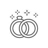 Wedding rings line icon.