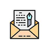 Envelope, novel, freehand letter flat color icon.