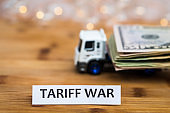 Tariff War shipping, trade and commerce concept with USA dollars