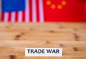 Trade War shipping business concept with USA and China flags