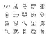 Set of Plumbing Services Line Icons. Bathtub, Toilet, Boiler, Plumber and more.