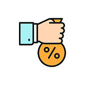 Fixed interest rate, hand with money bag flat color line icon.