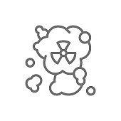 Radiation smell, hazardous waste, air pollution line icon.