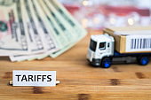 Tariffs shipping, trade and commerce concept