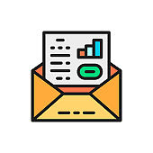 Business communication, letter, envelope with documents flat color icon.
