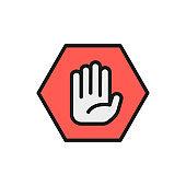 Hand in hexagon, do not touch, no sign allowed flat color line icon.