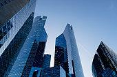 Skyscrapers in financial district of La Defense in  Paris France.
