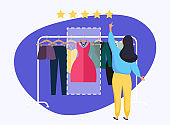 Woman giving rating to dress. Hand choosing positive review. Flat design modern vector illustration concept.