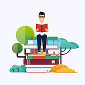 Man sitting on books and reading. Concept for website and mobile website development of education.