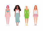 Set with Beautiful Women. Colorful Vector People. Flat Vector illustration.
