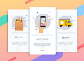 Onboarding screens user interface kit for mobile app templates concept of food delivery. Concept for web banners, websites, infographics.