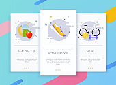 Onboarding screens user interface kit for mobile app templates concept of healthy lifestyle.