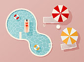 Woman in swim suit lying on floating swimming pool mattress. Summer pool party invitation design. Flyer or banner template. Flat design elements, minimalist style. Vector illustration.