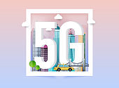 5g network logo in the smart city. Vector technology icon network sign 5G.