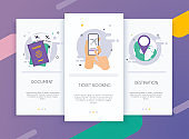 Onboarding screens user interface kit for mobile app templates concept of ticket booking. Traveling on airplane, planning a summer vacation, tourism and journey objects and passenger luggage.
