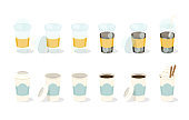 Set of coffee in paper and plastic cup. Can be used like a animation. Vector illustration.