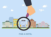 Hotel selection. Magnifying glass with hotel. Concept for web banners, websites, infographics.