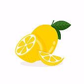 Lemon fruit with leaf isolated on white background.