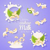 Cashew in milk splash. Big splash set. Vegan alternative organic filbert milk flow pour. Non dairy drink or yogurt.