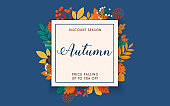 Discount season. Sale. Autumn leafs on the background. Flat design modern vector illustration concept.