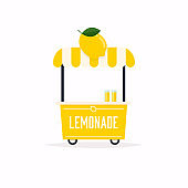 Lemonade stand cart. Street food cart. Vector Illustration.