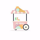 Ice cream stand cart. Street food cart. Vector Illustration.