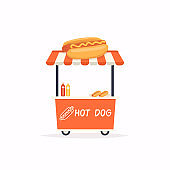 Hot Dog stand cart. Street food cart. Vector Illustration.