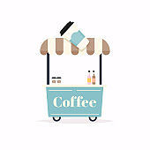 Hot coffee kiosk. Street food cart. Vector Illustration.