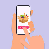 Hand holding mobile smart phone with donation app. Concept for charity online service.  Flat vector illustration.
