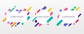 Paper card and abstract colorful shapes. Neon lines and circles. Concept for web banners, websites, infographics.