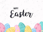 Happy Easter greeting card. Easter eggs composition with wooden branch.