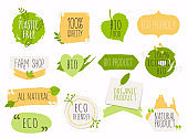 Collection of green labels and badges for organic, natural, bio and eco friendly products. Vintage vector,green colors.
