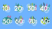 Sale discount icons with leafs design. Special offer price signs. 10, 20, 30, 40, 50, 60, 70 and 80 percent off reduction symbols.